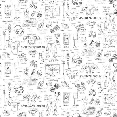 pantalones abajo: Fondo transparente mano doodle fútbol americano iconos conjunto ilustración vectorial deporte incompleto del fútbol, ??casco bola pantalones, jersey de la rodilla de campo tacos hombreras muslo hacia abajo el animar indicador