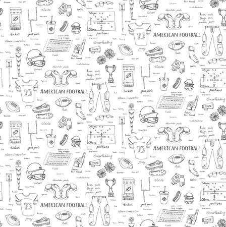 thigh: Seamless background hand drawn doodle american football set Vector illustration Sketchy sport football icons, ball helmet jersey pants knee thigh shoulder pads cleats field cheerleading down indicator