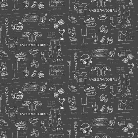 シームレスな背景手描き落書きアメリカン フットボール大ざっぱなスポーツ サッカー アイコン ベクトル図をセット、ヘルメット ジャージ パンツ  イラスト・ベクター素材