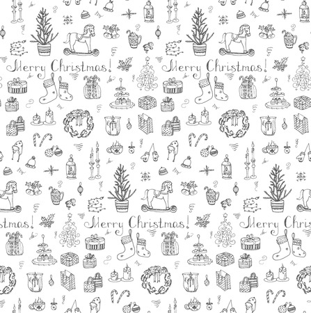 hand bells: Seamless background Hand drawn sketchy christmas elements Doodle vector illustration  Candles gift boxes christmas tree wreath stocking candy canes cookie bells holly decoration Merry Christmas
