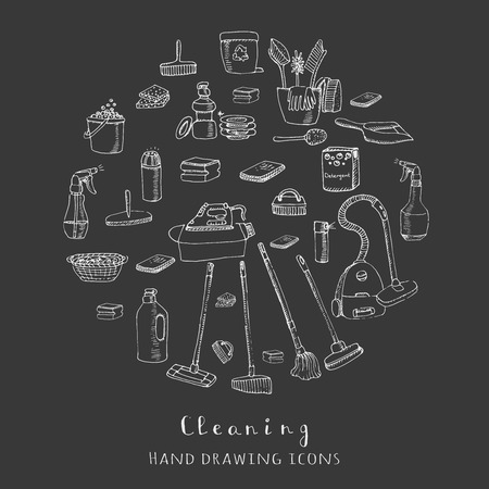 bleach: Hand drawn vector cleaning service icons, Cleaning symbols, tools, Detergent, iron, mop, dust pan, brushes bleach, duster, washing liquid, vacuum cleaner, doodle icons, sketch