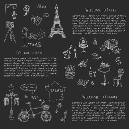 i love paris: Set of hand drawn French icons, Paris sketch illustration, doodle elements, Isolated national vector elements Travel to France icons for cards, web pages, travel articles Paris symbols collection