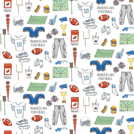 cleats: Seamless background hand drawn doodle american football set Vector illustration Sketchy sport football icons, ball helmet jersey pants knee thigh shoulder pads cleats field cheerleading down indicator