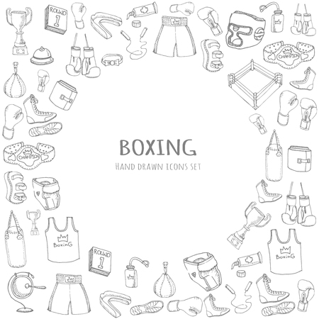 stance: Hand drawn doodle boxing set Vector illustration Sketchy sport related icons boxing elements, boxing uniform, gloves, shoes, helmet, boxing ring, belt, trophy