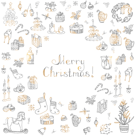 chinese holly: Set of hand drawn sketchy christmas elements Doodle vector illustration elements Candles gift boxes christmas tree wreath stocking candy canes cookie bells holly decoration calligraphy Merry Christmas