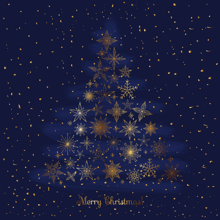 chinese holly: Set of hand drawn sketchy golden Christmas snowflakes and stars. Christmas tree shape on blue background. Doodle vector illustration Holly decoration Merry Christmas and Happy New Year. Sketch style. Illustration