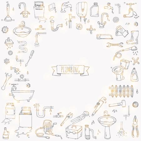 siphon: Hand drawn doodle Plumbing icons set. Vector illustration. Plumber repair tools collection. Cartoon water pipe various sketch elements: sink, tube, drain, broken washing machine, splash, drops, leak