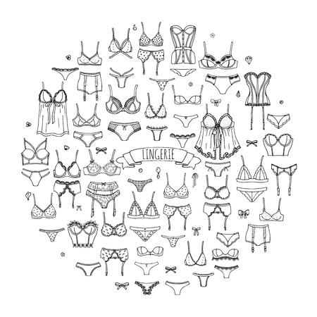 string bikini: Hand drawn doodle Lingerie icon set. Fashion feminine vector illustration. Sexy lacy woman underwear symbol collection. Cartoon various sketch elements: bra, panties, corset, brassiere, string, bikini Illustration