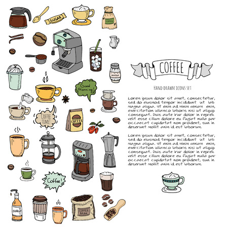 decaf: Hand drawn doodle Coffee time icon set Vector illustration isolated drink symbols collection Cartoon various beverage element: mug, cup, espresso, americano, irish, decaf, mocha, coffee making machine