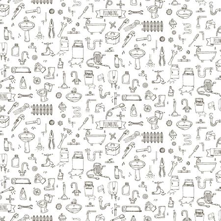 drain: Seamless pattern Hand drawn doodle Plumbing icons set. Vector illustration. Plumber repair tools collection. Cartoon pipe sketch elements: sink, tube, drain, broken washing machine, splash, drops Leak