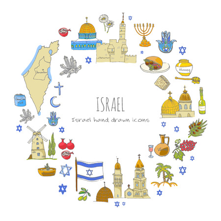 Set of hand drawn Israel icons. Jewish sketch. Vector illustration. Doodle elements, Isolated national elements on white background. Travel to Israel icon for cards and web pages. Hanukkah symbol. Vektorové ilustrace