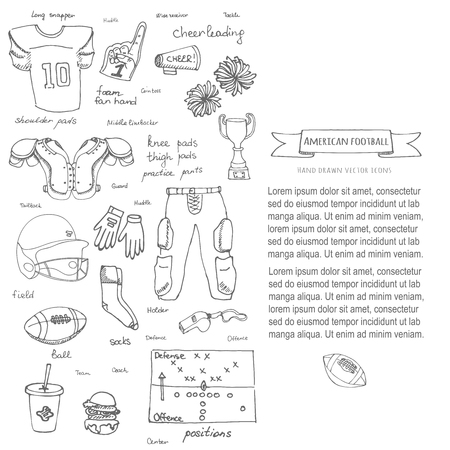 cleats: Hand drawn doodle american football set Vector illustration Sketchy sport related icons football elements, ball helmet jersey pants knee thigh shoulder pads cleats field cheerleading down indicator