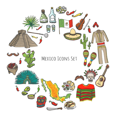 Hand drawn doodle Mexico set Vector illustration Sketchy mexican food icons United Mexican States elements Flag Maracas Sombrero Viva Mexico Maya Pyramid Aztec Tequila Agave Mariachi Poncho Guacamole