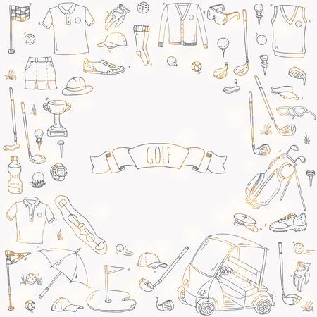 손으로 그린 낙서 골프 아이콘을 설정합니다. 벡터 일러스트 레이 션. 게임 컬렉션. 클럽, 티, 가방, 장바구니, 운동복, 신발, 폴로 셔츠, 우산, 플래