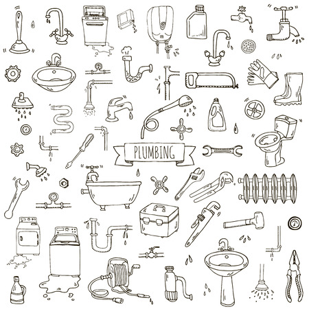 Hand drawn doodle Plumbing icons set. Vector illustration. Plumber repair tools collection. Cartoon water pipe various sketch elements: sink, tube, drain, broken washing machine, splash, drops, leak