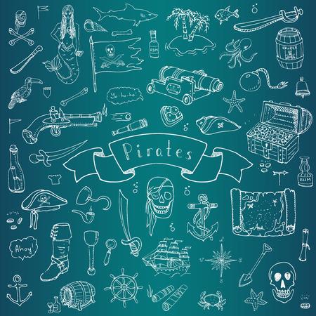 sombrero pirata: dibujados a mano de iconos de pirata Doodle conjunto de vectores de recogida de símbolos ilustración piratas elementos conceptuales piratería de dibujos animados sombrero en el pecho del tesoro Negro bandera elementos del traje del pirata de la bandera pirata del cráneo del pirata del compás Vectores