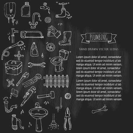Dessinés à la main doodle plomberie icons set. Vector illustration. Plombier collection d'outils de réparation. conduites d'eau de bande dessinée divers éléments d'esquisse: évier, tube, drain, machine à laver cassée, éclaboussure, gouttes, fuite
