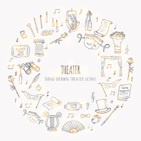 Hand drawn doodle Theater set. Vector illustration. Sketchy artistic icons. Acting performance elements: Ticket, Masks, Lyra, Flowers, Curtain stage, Musical notes, Pointe shoes, Make-up artist tools.