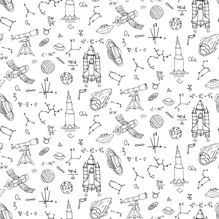 Seamless pattern Hand drawn doodle Space and Cosmos set Vector illustration Universe icons Space concept elements Rocket Space ship symbols collection Solar system Planets Galaxy Milky Way Astronaut Ilustração