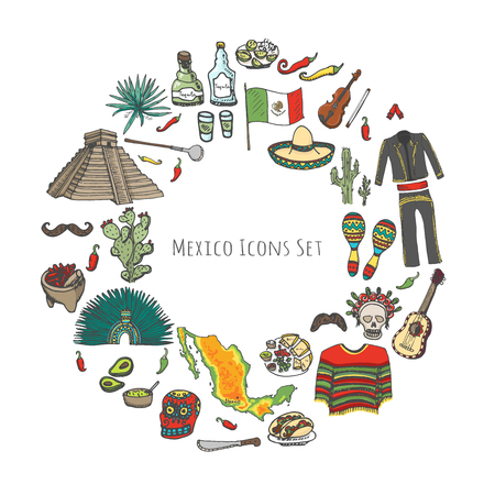 Hand drawn doodle Mexico set. Vector illustration. Sketch mexican food icons United Mexican States elements Flag Maracas Sombrero Viva Mexico Maya Pyramid Aztec Tequila Agave Mariachi Poncho Guacamole Illustration