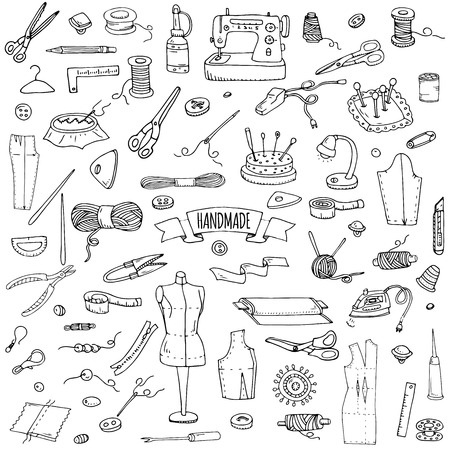Hand drawn doodle Handmade icons set. Vector illustration. Sewing collection. Cartoon hand made various sketch elements: embroidery, jewelry making, button, needle, scissors, spool, pin, knitting Illusztráció