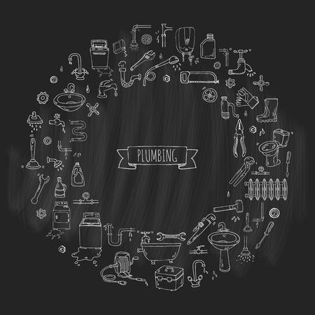 drain: Hand drawn doodle Plumbing icons set. Vector illustration. Plumber repair tools collection. Cartoon water pipe various sketch elements: sink, tube, drain, broken washing machine, splash, drops, leak