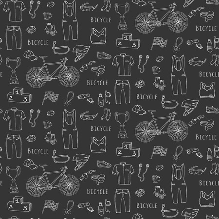 cycling helmet: Seamless pattern hand drawn Bicycle equipment set. Doodle vector illustration of stylized bicycling icons. Cartoon. Sketch accessories elements collection, cycling gear, cloth, shoes, cup, helmet