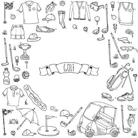 polo shirt: Hand drawn doodle Golf icons set. Vector illustration. Game collection. Cartoon golfing various sketch elements: clubs, tee, bag, cart, sport cloth, shoes, polo shirt, umbrella, flag, hole, grass.