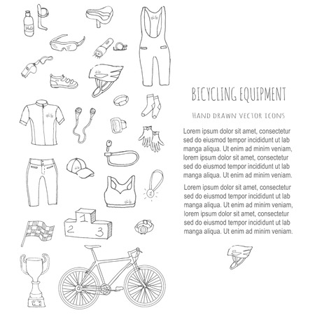 cycling helmet: Bicycle equipment hand drawn set. Doodle vector illustration of various stylized bicycling icons. Cartoon equipment. Sketch accessories elements collection, cycling gear, cloth, shoes, cup, helmet