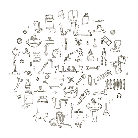 tube wrench: Hand drawn doodle Plumbing icons set. Vector illustration. Plumber repair tools collection. Cartoon water pipe various sketch elements: sink, tube, drain, broken washing machine, splash, drops, leak