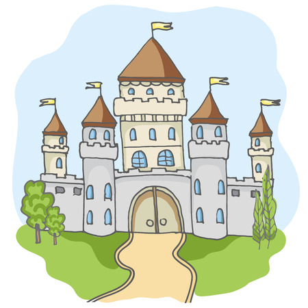 Hand drawn doodle cartoon fairy tale castle building icon. Vector illustration. Cartoon style cute castle for princess. Sketch, fairytale, game icon, magic kingdom. Blue sky and green tree, road.