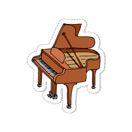 Hand drawn doodle Piano patch. Vector illustration musical instrument. Music symbols icons collections. Cartoon piano concept element. Logo design template with drawing sketch. Outlined instrument.