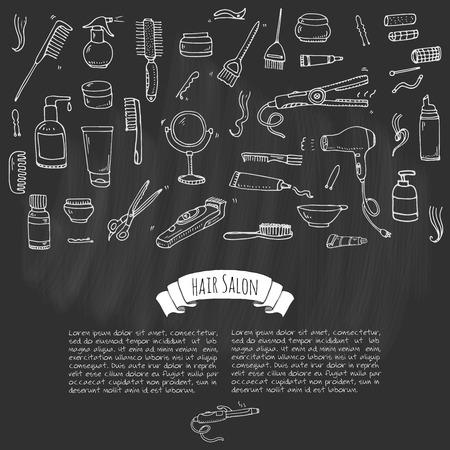 permanent wave: Hand drawn doodle Hair salon icons set. Vector illustration. Barber symbols collection. Cartoon hairdressing equipment elements: shampoo, mask, hair die, scissors, iron, curlers, dryer, razor.