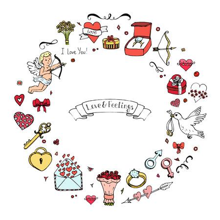 Hand getrokken doodle Liefde en Feelings collectie Vector illustratie schetsmatige liefde pictogrammen Grote set van de iconen voor Valentijnsdag, Moederdag, huwelijk, liefde en romantische gebeurtenissen Hearts handen cupido Bouquet Stock Illustratie