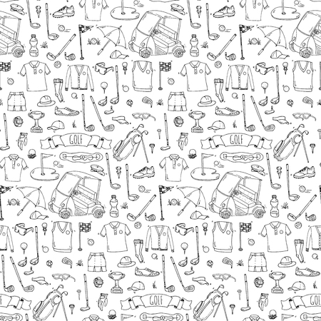 Hand drawn doodle Golf icons set pattern. Vector illustration. Game collection. Cartoon golfing various sketch elements: clubs, tee, bag, cart, sport cloth, shoes, polo shirt, umbrella, flag, hole. Stock Vector - 67785286