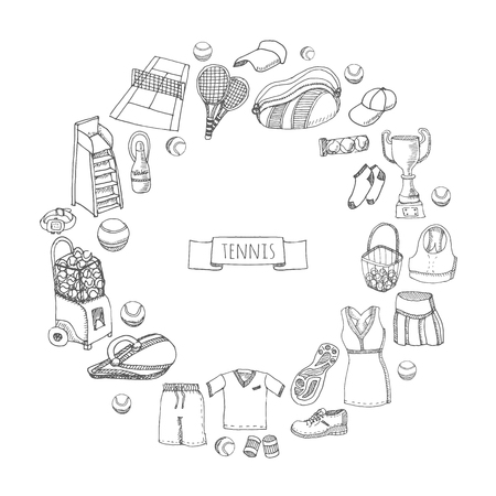 umpire: Hand drawn doodle Tennis game set. Vector illustration tennis equipment. Sport symbols Isolated icons collections. Cartoon concept elements: Racket, ball, dress, shoes, court, cup, bag, chair umpire.