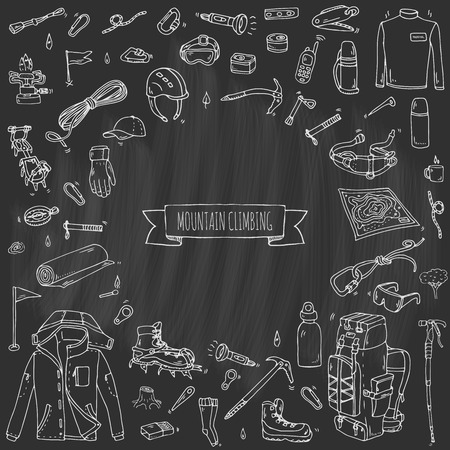 crampon: Hand drawn doodle Mountain Climbing icons set. Vector illustration. Mountaineering equipment collection. Cartoon sketch elements for trekking, hiking, tourism, expedition, camping, outdoor recreation.