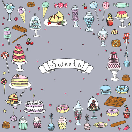 Hand drawn doodle Sweets set. Vector illustration. Sketch Sweet food icons collection. Isolated cartoon desert symbols: Cupcake, Macarons, Chocolate bar, Candy, Cake, Pie, Pastry, Lollipop, Pastry. 向量圖像