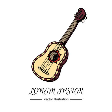musical instrument: Hand drawn doodle Guitar icon. Vector illustration musical instrument. Cartoon sound concept symbol element. Music Guitar vector logo design template. Illustration