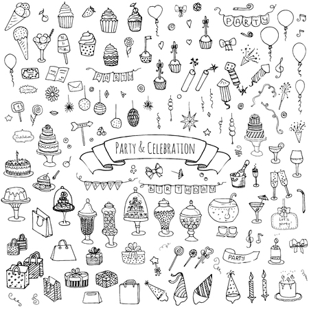 hand set: Hand drawn doodle Party and Celebration icons set Vector illustration Sketch Party concept Happy Birthday Party elements Carnival festive icons Gifts, Hat, Cake, Bow, Drink, Firework, Sweets, Flags