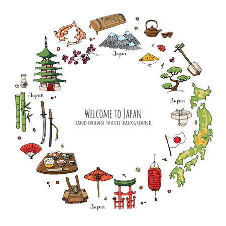 Hand drawn doodle Welcome to Japan set. Vector illustration. Sketchy Japanese related icons, Japan elements, map, pagoda, umbrella, sumo, sake, samurai, Fuji, food, sakura, fish, salmon, bamboo, sushi Иллюстрация