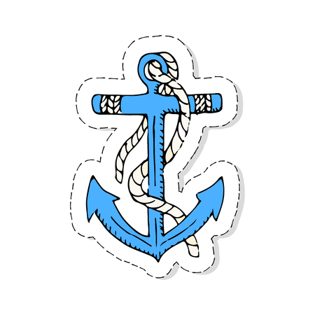 docks: Hand drawn doodle patch Anchor icon Vector illustration icon Marine concept elements Ship symbols collection Marine life Nautical design Anchor vector isolated on white background Anchor illustration Illustration