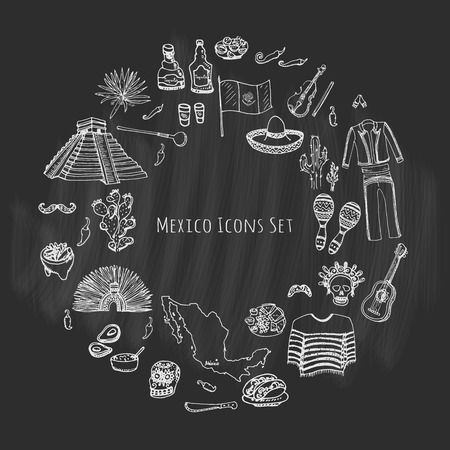 agave: Hand drawn doodle Mexico set. Vector illustration. Sketch mexican food icons United Mexican States elements Flag Maracas Sombrero Viva Mexico Maya Pyramid Aztec Tequila Agave Mariachi Poncho Guacamole Illustration