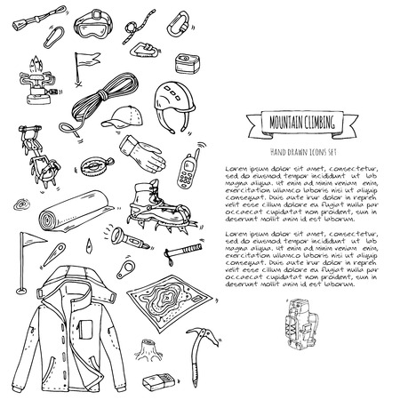 ice axe: Hand drawn doodle Mountain Climbing icons set. Vector illustration. Mountaineering equipment collection. Cartoon sketch elements for trekking, hiking, tourism, expedition, camping, outdoor recreation.