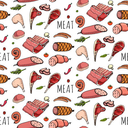 Seamless pattern Hand drawn doodle set of cartoon different kind of meat and poultry. Meat set Vector illustration Sketchy elements: Lamb Pork Ham Mince Chicken Steak Bacon Sausage Salami Delicatessen Ilustração
