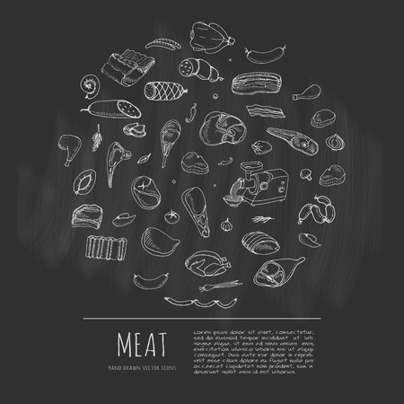 Hand drawn doodle set of cartoon different kind of meat and poultry. Meat set Vector illustration. Sketchy flesh elements collection Lamb Pork Ham Mince Chicken Steak Bacon Sausage Salami Delicatessen