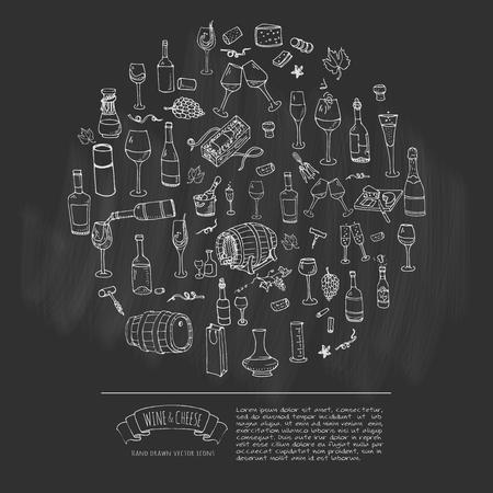 손으로 그린 와인 아이콘을 설정합니다. 벡터 일러스트 레이 션. 스케치 와인 시음 요소 컬렉션입니다. 만화 와이너리 기호입니다. 포도 원 배경입니다. 포도, 유리, 병, 배럴, 코르크 따개, 오프너, 치즈 플래터