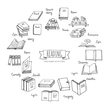 손으로 그린 낙서 책 읽기 설정합니다. 벡터 일러스트 레이 션. 스케치 아이콘 요소입니다. 독서 및 학습 벡터 기호입니다. 책 클럽 그림입니다. 다