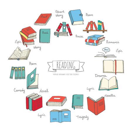 Hand drawn doodle Books Reading set. Vector illustration. Sketchy icons elements. Vector symbols of reading and learning. Book club illustration. Back to school Education University College symbols