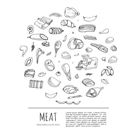 고기와 가금류의 만화 다른 종류의 손으로 그린 낙서입니다. 고기 벡터 일러스트 레이 션을 설정합니다. 스케치 육체 요소 컬렉션 양고기 돼지 고